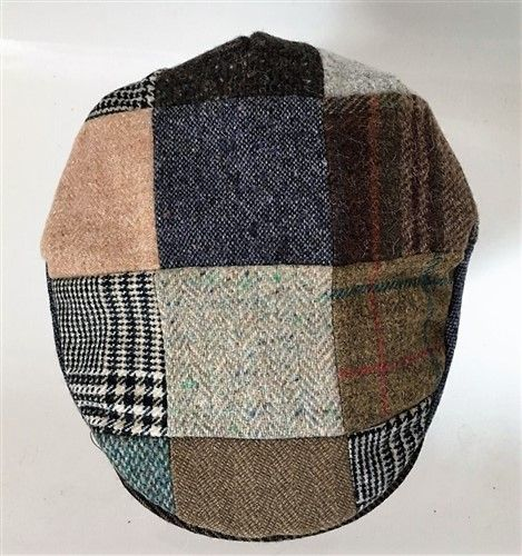 Hanna Hats Irish Tweed Patchwork Peaked Cap Medium Y1